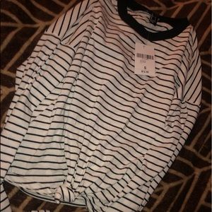 Women's Striped Long Sleeve Crop Top
